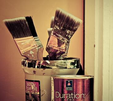 Bucket of brushes for home painting Tampa
