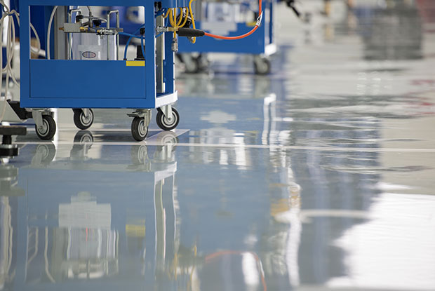 Epoxy floor coating at business